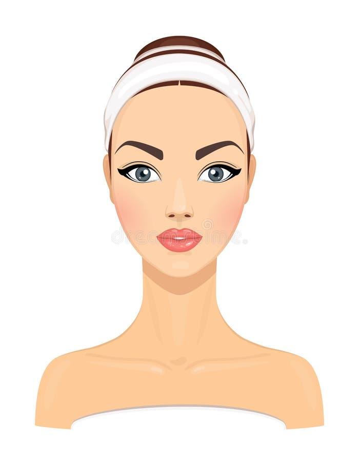 有在白色背景隔绝的干净的新鲜的皮肤的美丽的少妇 女孩具体化 面部秀丽治疗的模型 皮肤 向量例证