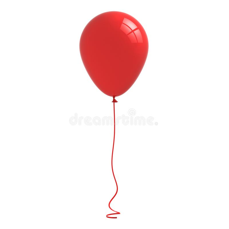 有在白色背景隔绝的弯曲的丝带绳索的红色光滑的气球 库存例证