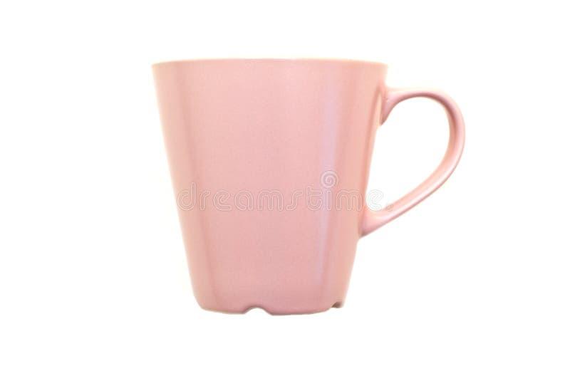 有在白色背景隔绝的把柄的桃红色美丽的杯子 免版税库存图片