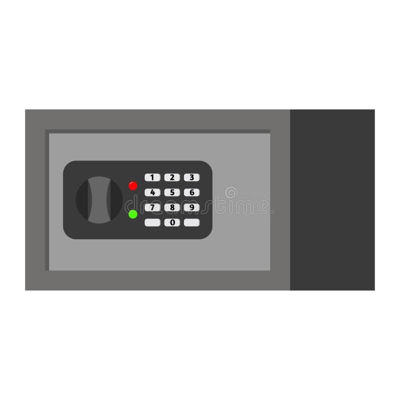 有在白色背景隔绝的数字锁的传染媒介平的钢家具保险柜 库存例证