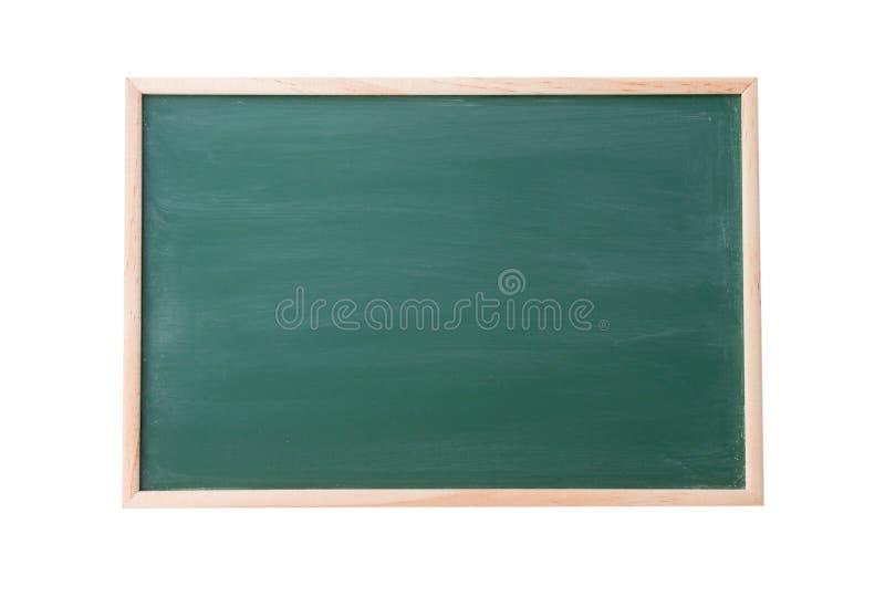 有在白色背景隔绝的木制框架的绿色黑板,文本的纹理做广告 图库摄影