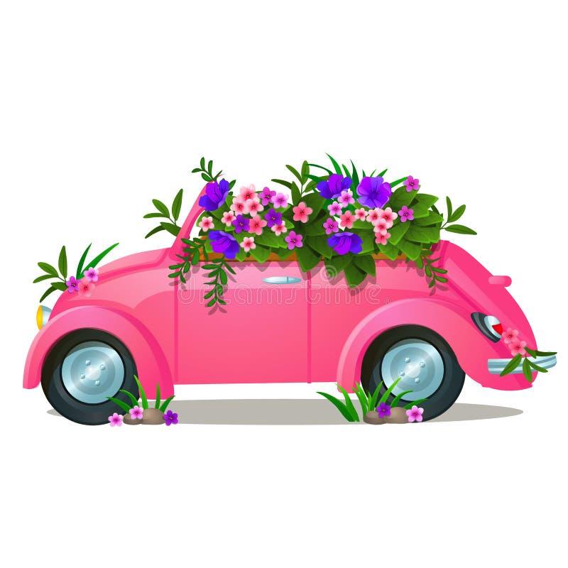 有在白色背景隔绝的生长花的葡萄酒桃红色汽车 传染媒介动画片特写镜头例证 向量例证