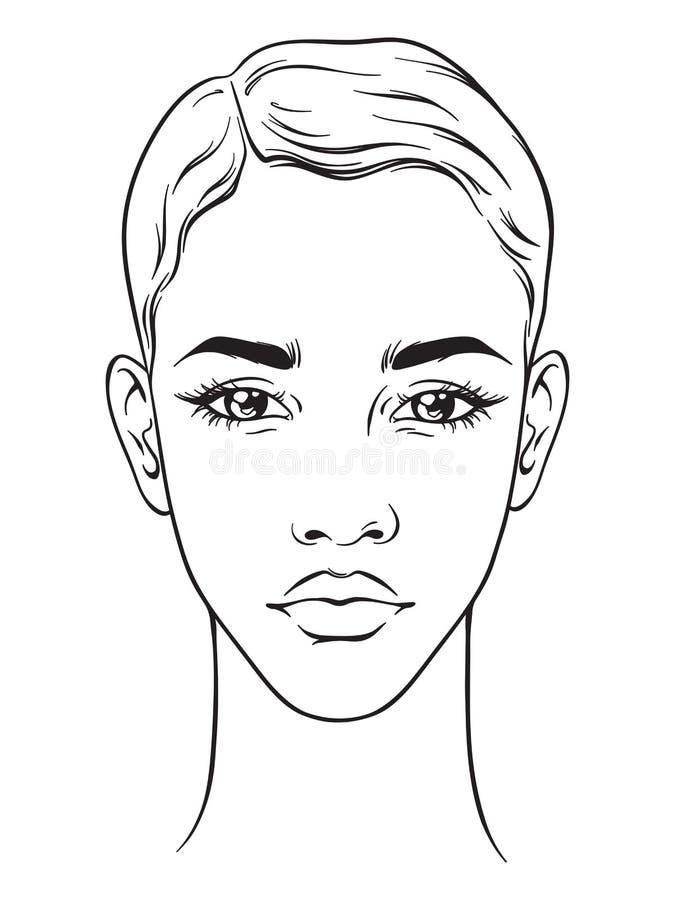有在白色背景隔绝的短的理发画象的美丽的非裔美国人的妇女 面孔图化妆师空白模板 向量例证