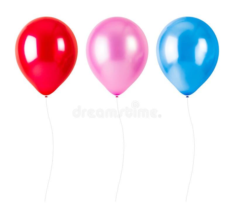 有在白色背景隔绝的绳索的五颜六色的气球 党装饰 库存图片