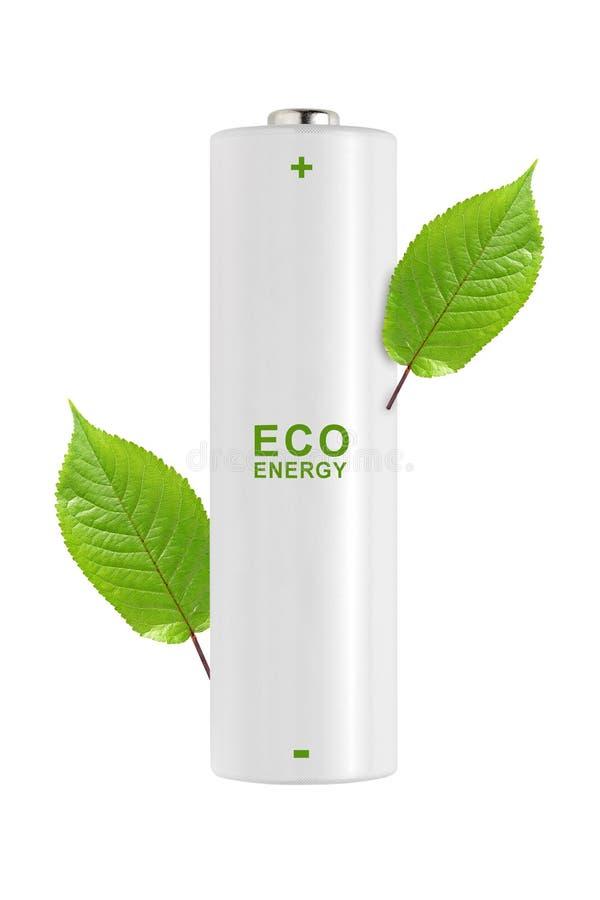 有在白色背景隔绝的绿色叶子的电池 库存图片