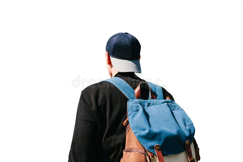 有在白色背景隔绝的背包的少年 库存图片