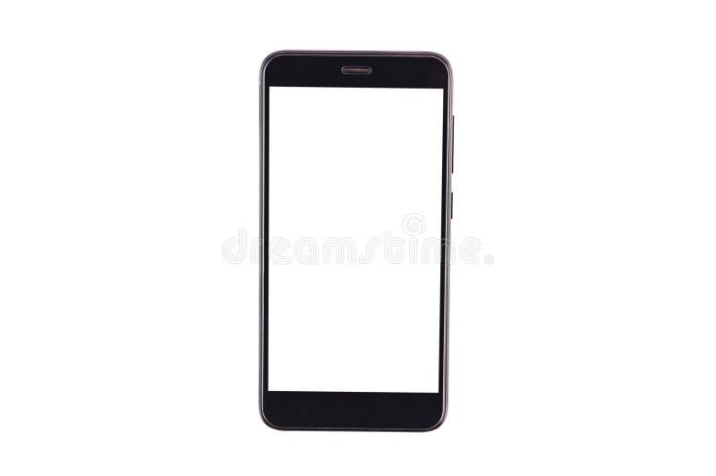 有在白色背景隔绝的被隔绝的空白的白色屏幕的唯一黑智能手机 裁减路线-图象 免版税库存照片