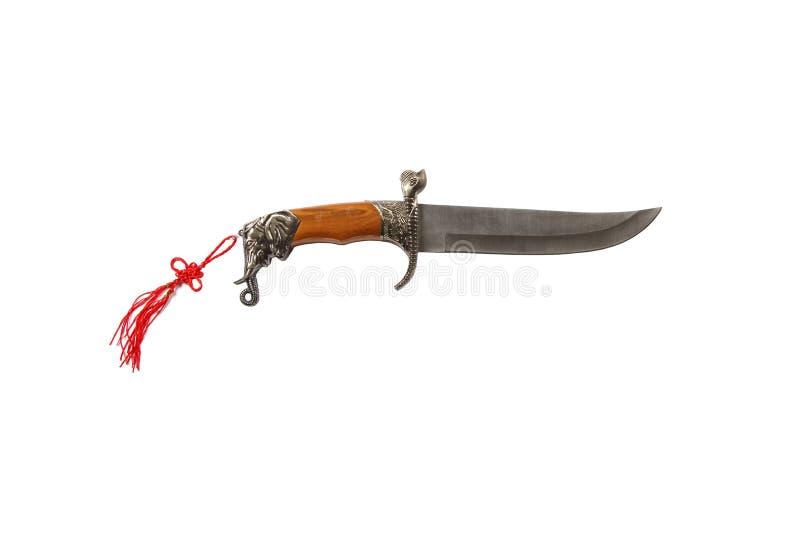 有在白色背景隔绝的装饰鞘的弯曲的礼仪匕首刀子 在白色背景的葡萄酒匕首 Dagg 免版税库存图片