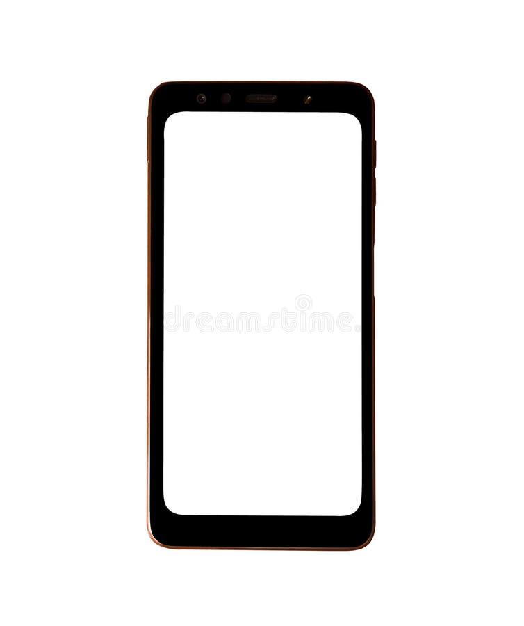 有在白色背景隔绝的透明屏幕的现实金智能手机 库存照片