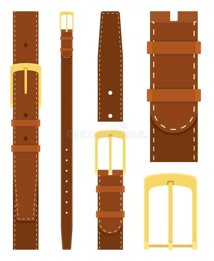 有在白色背景隔绝的金扣的布朗皮带 衣物设计的元素 在平的样式的传送带裤子 向量例证