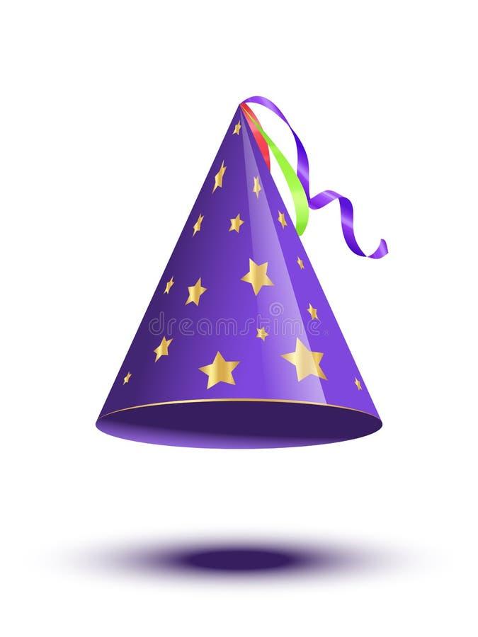 有在白色背景隔绝的金黄星的蓝色党藤茎盖帽 传染媒介假日元素 库存例证