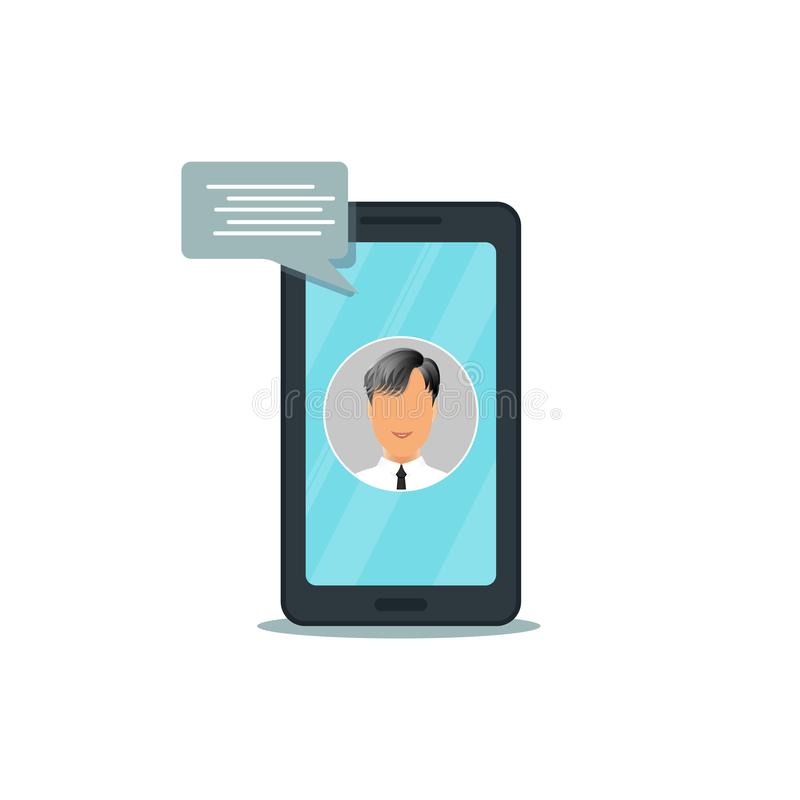 有在白色背景隔绝的闲谈消息的手机,智能手机平的设计有sms讲话泡影的 皇族释放例证