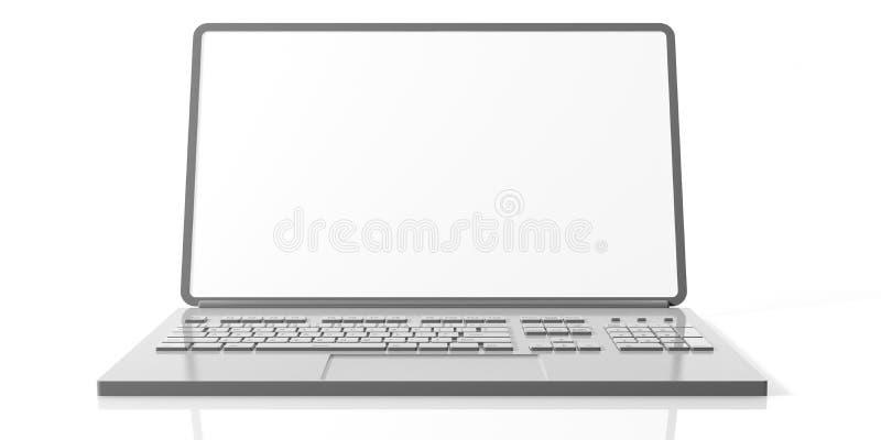 有在白色背景隔绝的黑屏的计算机膝上型计算机,正面图 向量例证