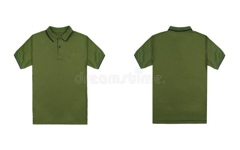 有在白色背景隔绝的黑条纹的空白简单的绿色球衣 捆绑组装球衣前面和后面看法 图库摄影