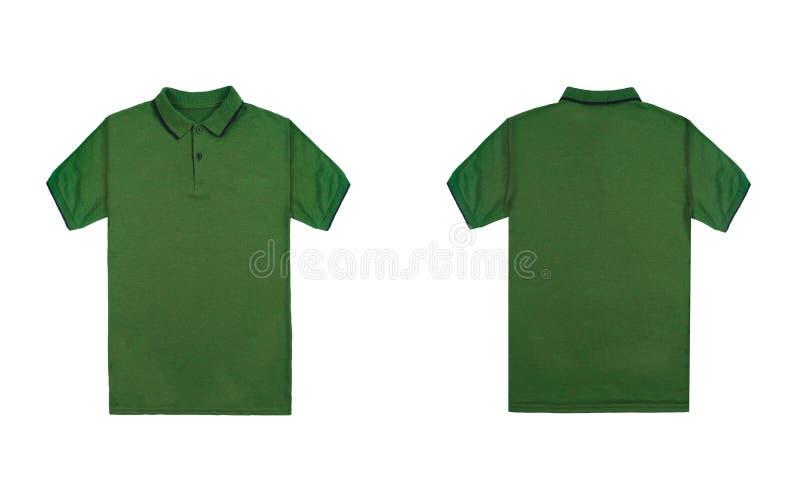 有在白色背景隔绝的黑条纹的空白简单的绿色球衣 捆绑组装球衣前面和后面看法 库存图片