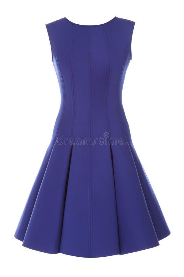 有在白色背景隔绝的假钻石的蓝色礼服 免版税库存照片
