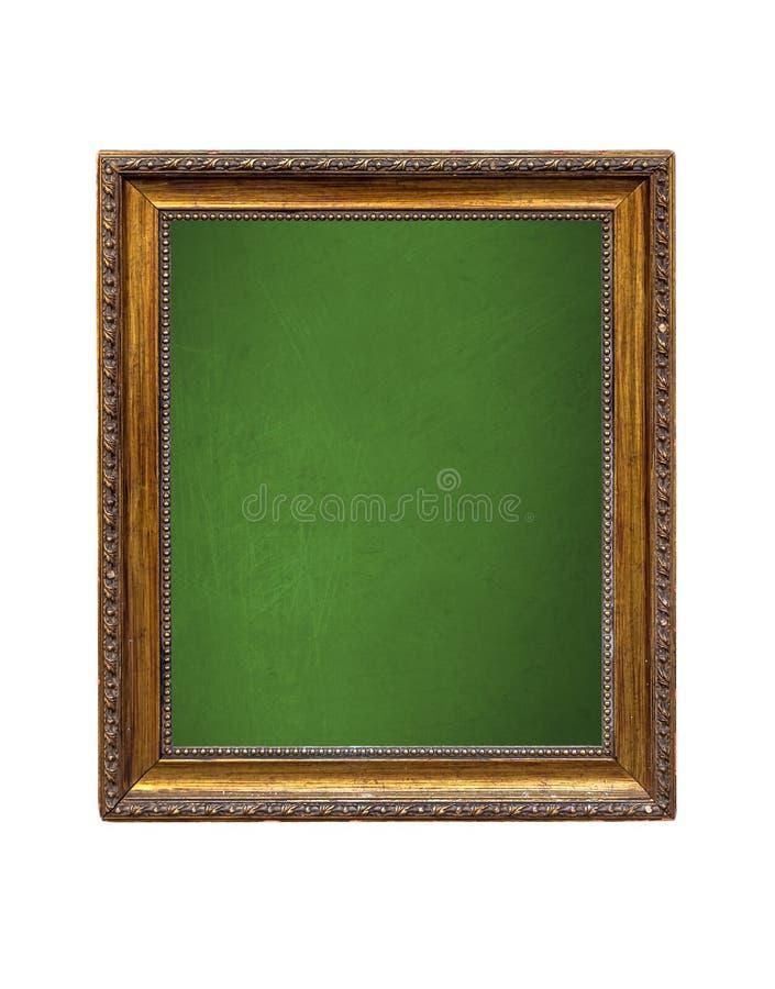 有在白色背景隔绝的木制框架的葡萄酒绿色黑板 库存图片