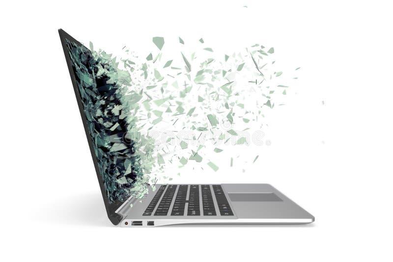 有在白色背景隔绝的残破的屏幕的现代金属膝上型计算机 3d例证 库存照片