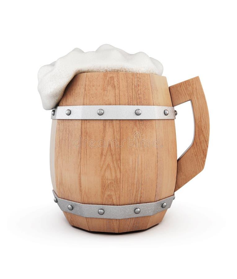 有在白色背景隔绝的泡沫的啤酒杯 3d翻译 库存例证