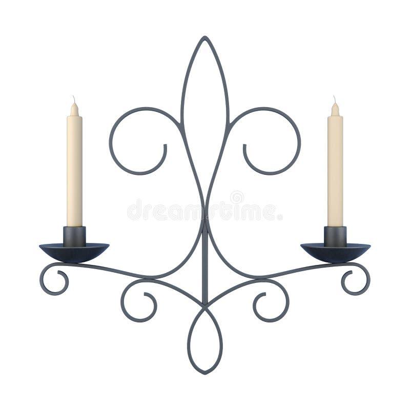 有在白色背景隔绝的蜡烛的枝形吊灯 3D renderi 库存例证