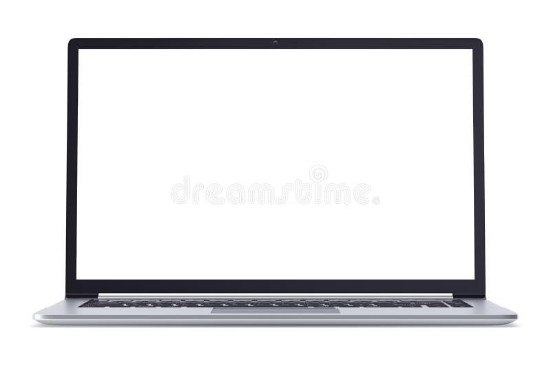 有在白色背景隔绝的黑屏的现代金属办公室膝上型计算机或银企业笔记本 3d例证 向量例证