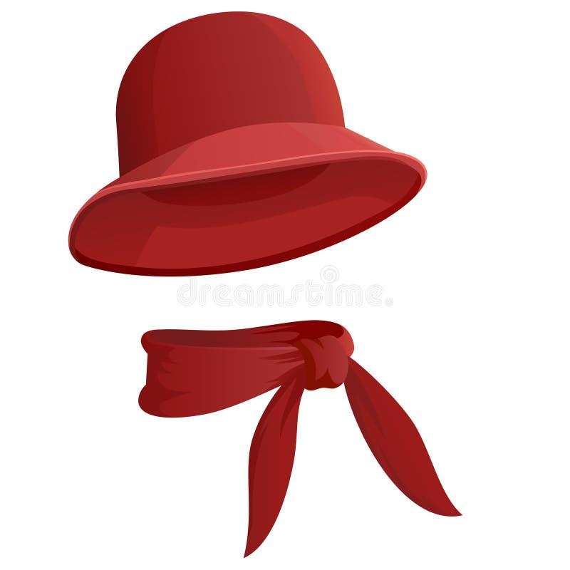 有在白色背景隔绝的围巾的红色妇女的帽子 皇族释放例证