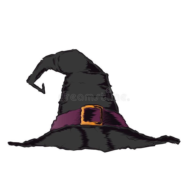 有在白色背景隔绝的紫罗兰色传送带的黑蠕动的巫婆帽子 种族分界线艺术 万圣夜减速火箭的设计 皇族释放例证