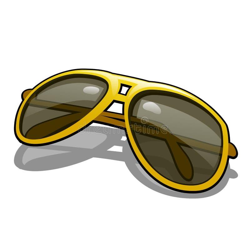 有在白色背景驾驶的隔绝的被对立的黄色玻璃的时髦的太阳镜 男孩动画片不满意的例证少许向量 向量例证