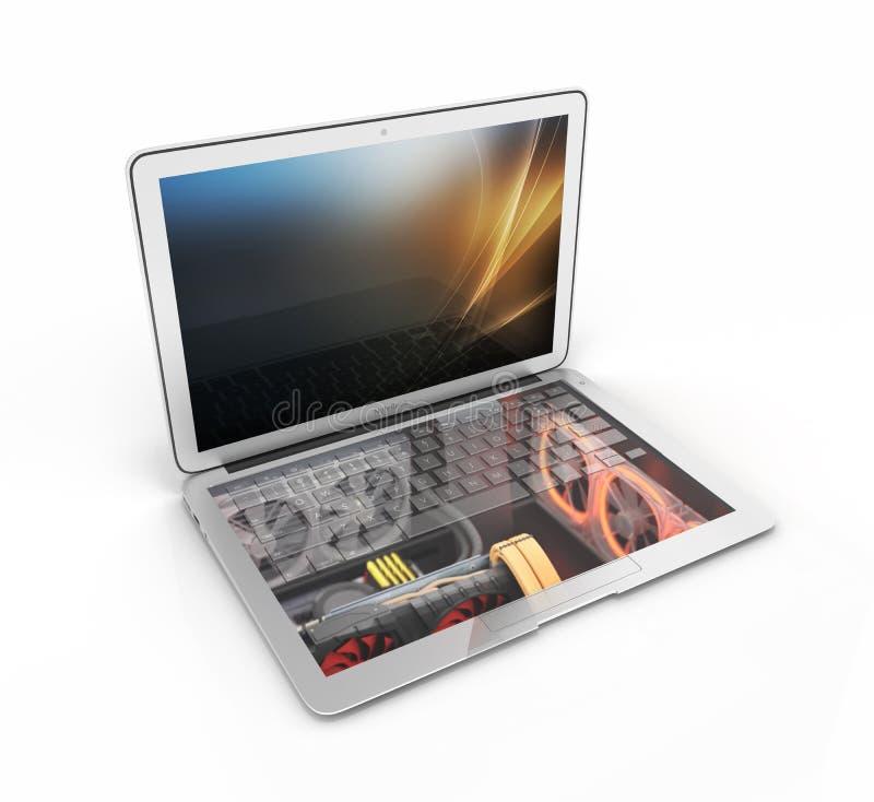 有在白色背景3d例证隔绝的强有力的计算机部件的强有力的笔记本概念膝上型计算机 皇族释放例证
