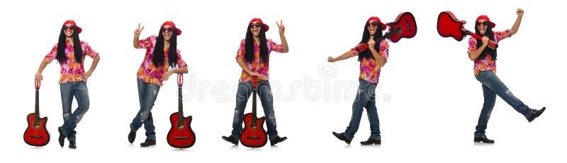 有在白色隔绝的吉他的男性音乐家 免版税库存照片