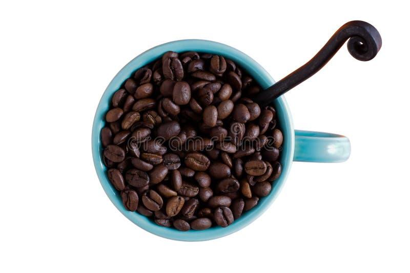 有在白色隔绝的咖啡豆的咖啡杯 图库摄影