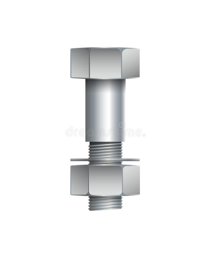 有在白色隔绝的坚果的金属螺栓 向量例证