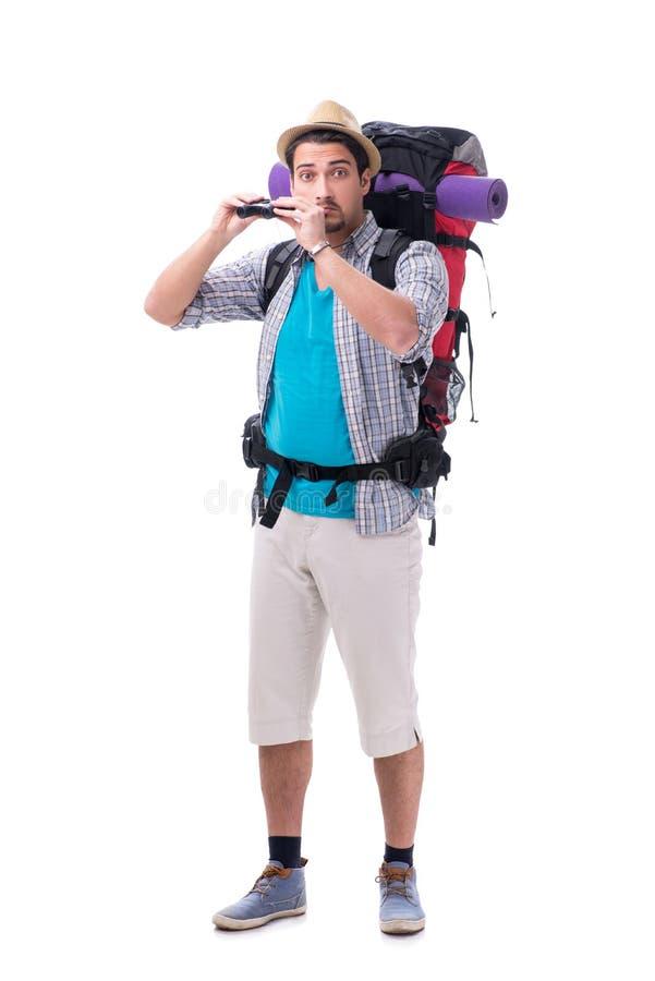 有在白色隔绝的大背包的背包徒步旅行者 库存图片