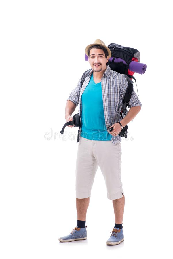 有在白色隔绝的大背包的背包徒步旅行者 免版税库存图片
