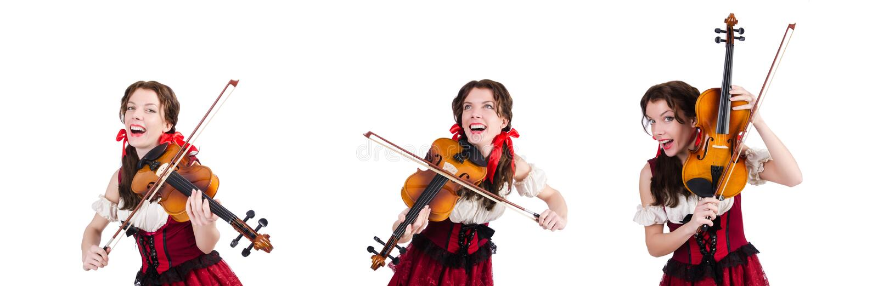 有在白色隔绝的小提琴的妇女 库存照片