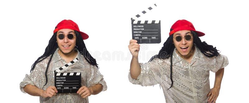 有在白色隔绝的拍板委员会的滑稽的人 免版税图库摄影