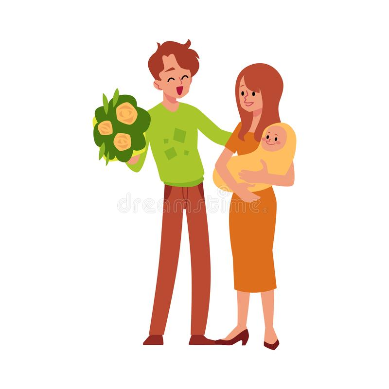 有在白色隔绝的新生儿平的传染媒介例证的幸福家庭 向量例证