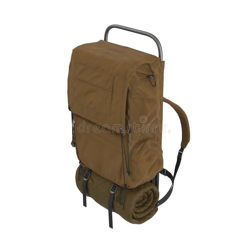 有在白色隔绝的行军床的被包装的野营的背包 3d例证 向量例证