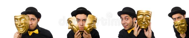 有在白色隔绝的金黄威尼斯式面具的年轻人 图库摄影
