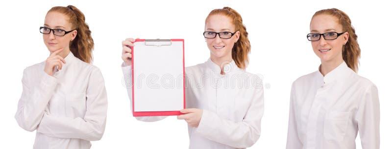有在白色隔绝的黏合剂的年轻医科学生 库存照片