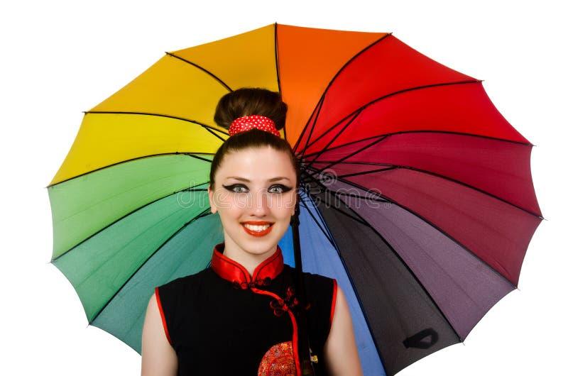 Download 有在白色隔绝的五颜六色的伞的妇女 库存图片. 图片 包括有 女装设计, 衣裳, 肉欲, 方式, 有吸引力的 - 72358391