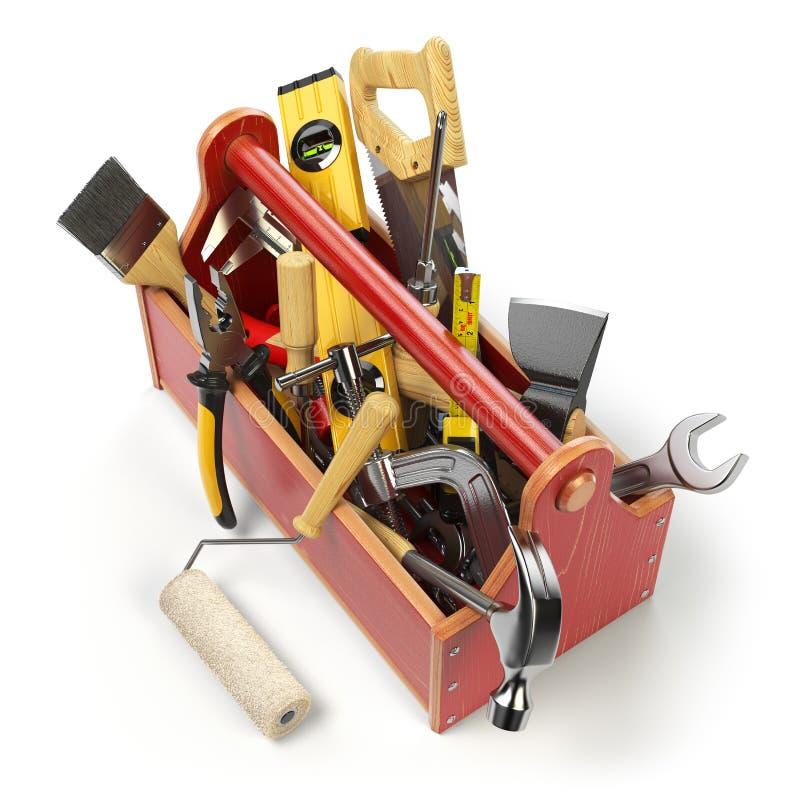 有在白色隔绝的工具的木工具箱 Skrewdriver,锤子 库存例证