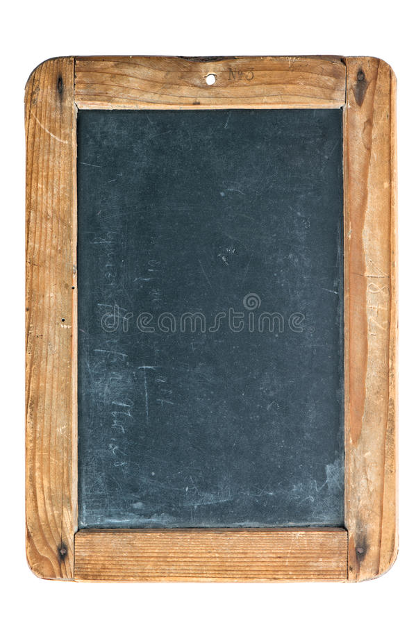有在白色隔绝的木制框架的葡萄酒黑板 库存图片