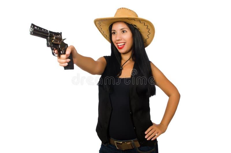 有在白色隔绝的枪的少妇 图库摄影