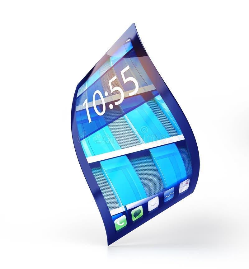 有在白色隔绝的灵活的屏幕的手机 库存例证