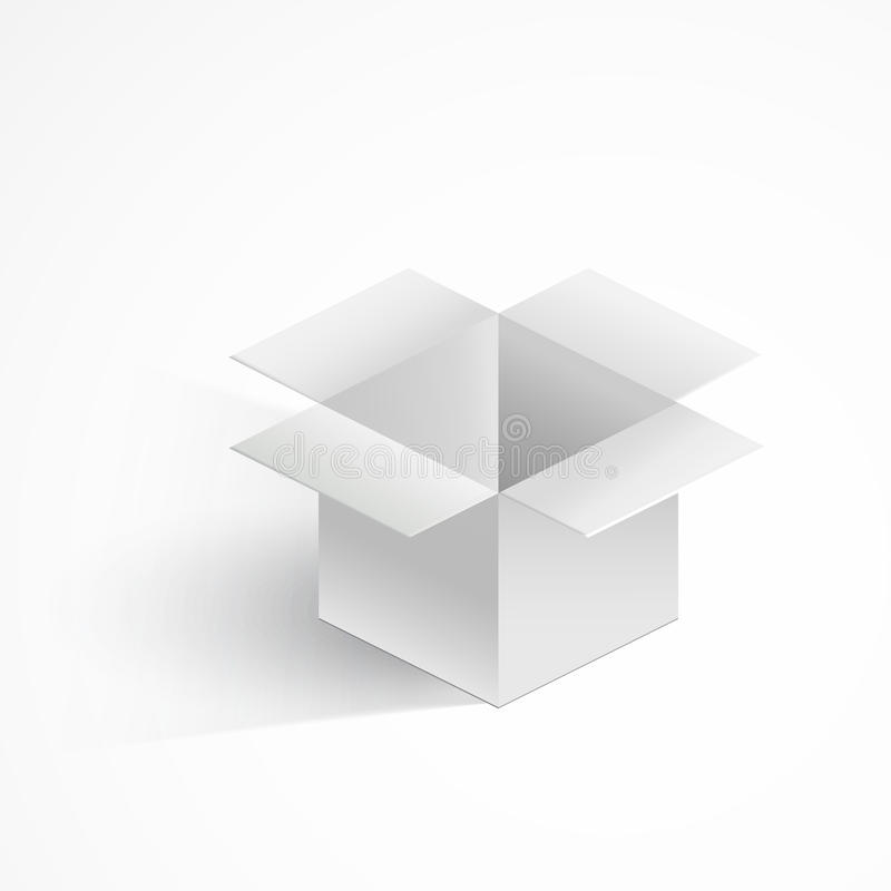 有在白色隔绝的现实阴影的灰色开放箱子 Eps10向量 库存例证