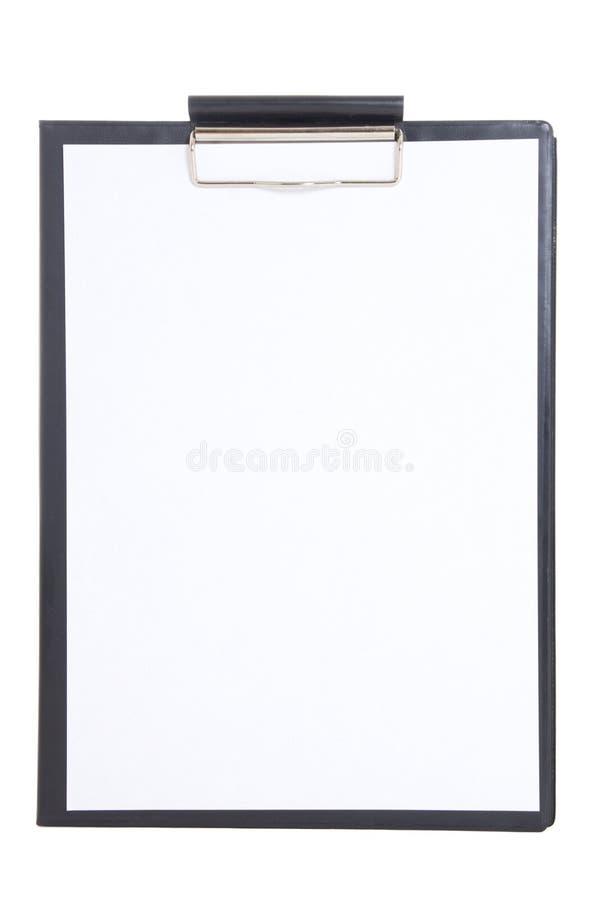 有在白色隔绝的白纸板料的黑塑料剪贴板 免版税库存图片