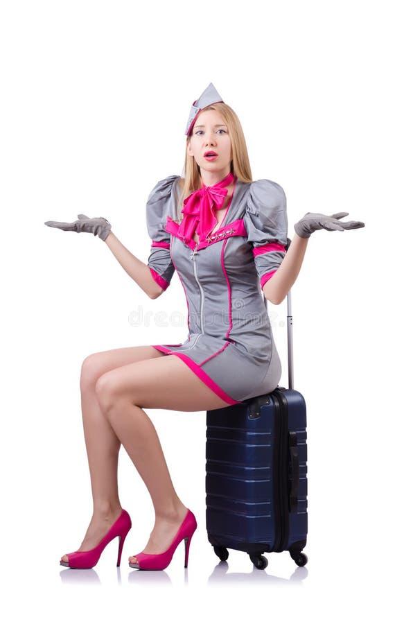 有在白色隔绝的盒的空中小姐 免版税库存图片