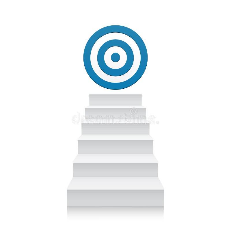 有在白色隔绝的蓝色目标象的台阶 库存例证