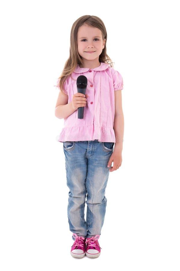 有在白色隔绝的话筒的逗人喜爱的小女孩 库存图片